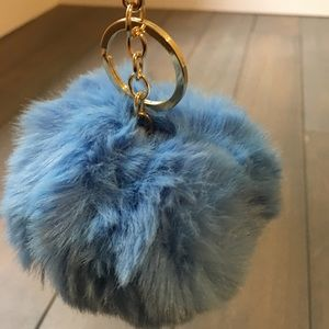 Light Blue Pom Pom Keychain